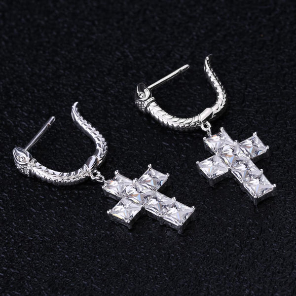Cross Earrings with Snake Hoop in 925 Sterling Silver