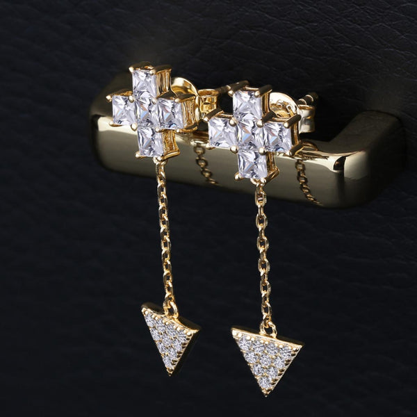 Cross Stud Earrings with Triangle Pendant in 925 Sterling Silver