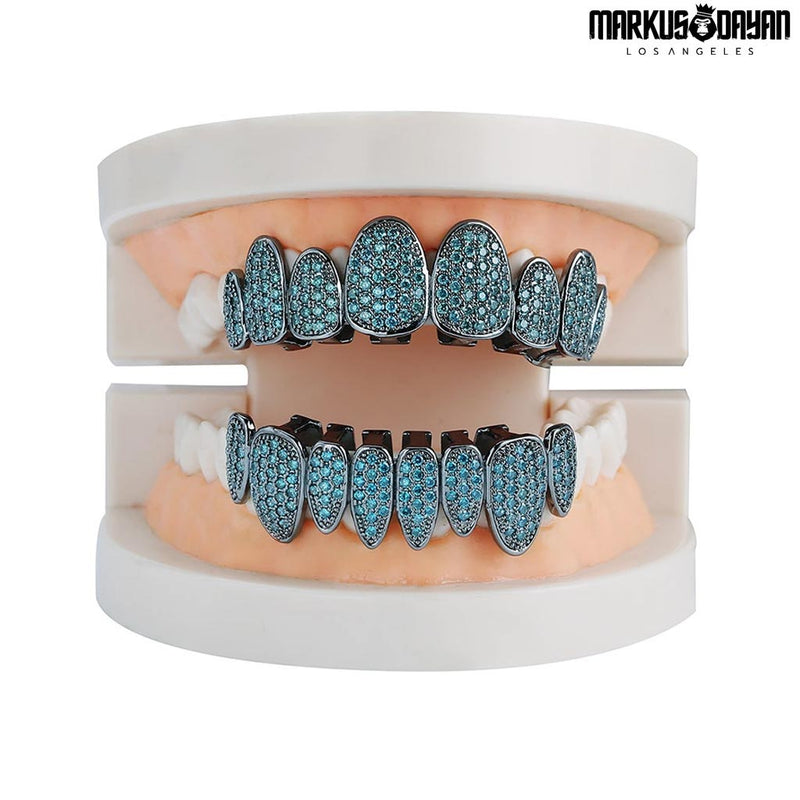 Iced Rainbow CZ Stone Teeth Grillz
