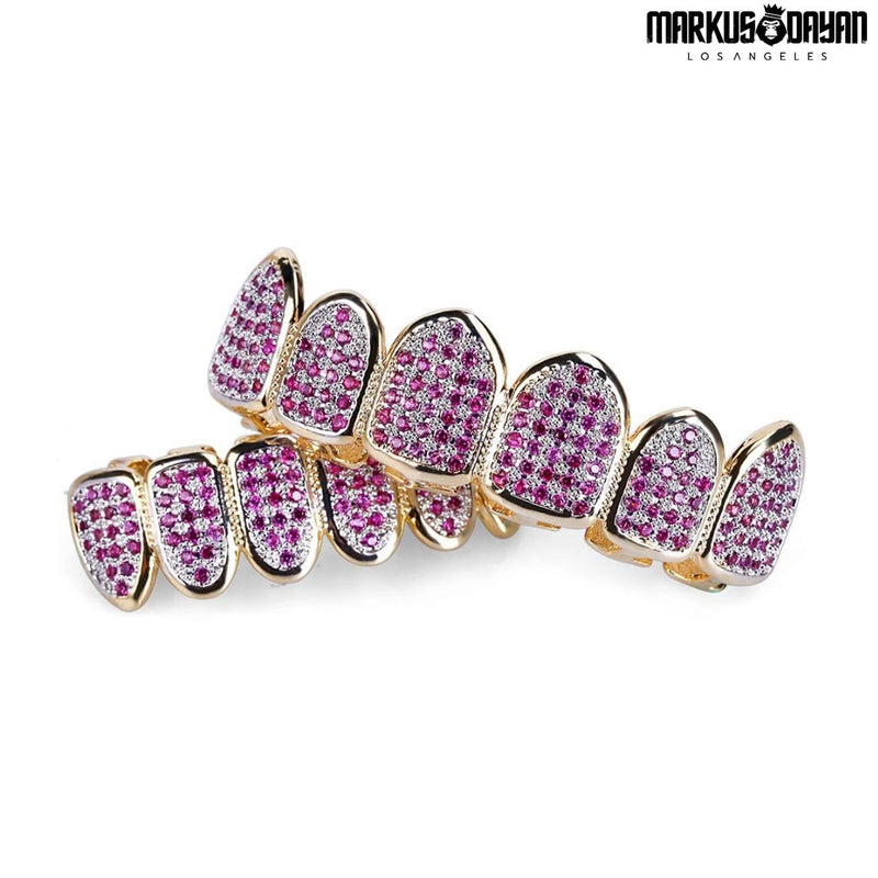 Iced Out Diamond Micro Pave Pink Teeth Grillz
