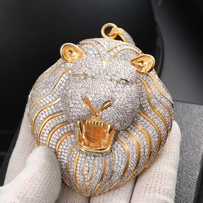 Iced Big Lion XXL Head Pendant
