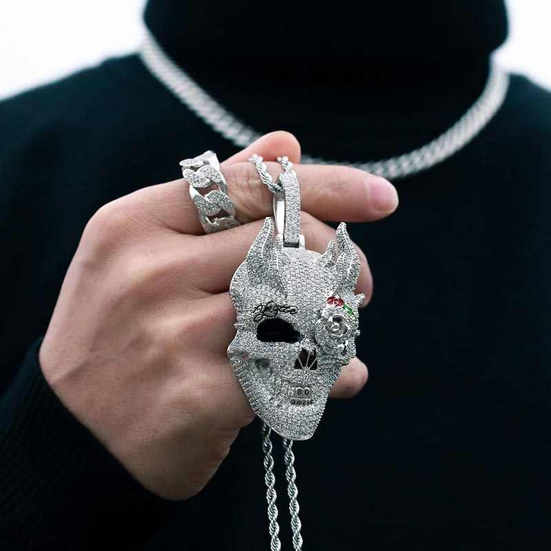 Iced CZ Skull Head Necklace 14k Gold