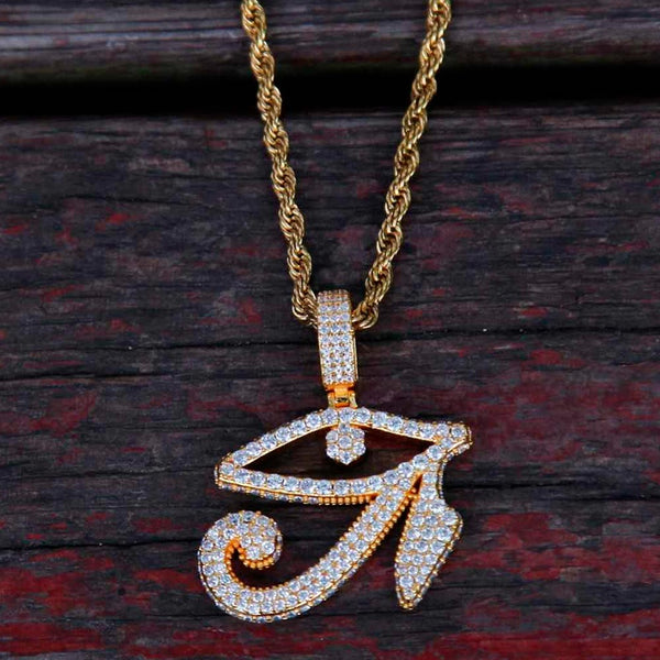 Iced Eye of Horus Pendant 18K Gold
