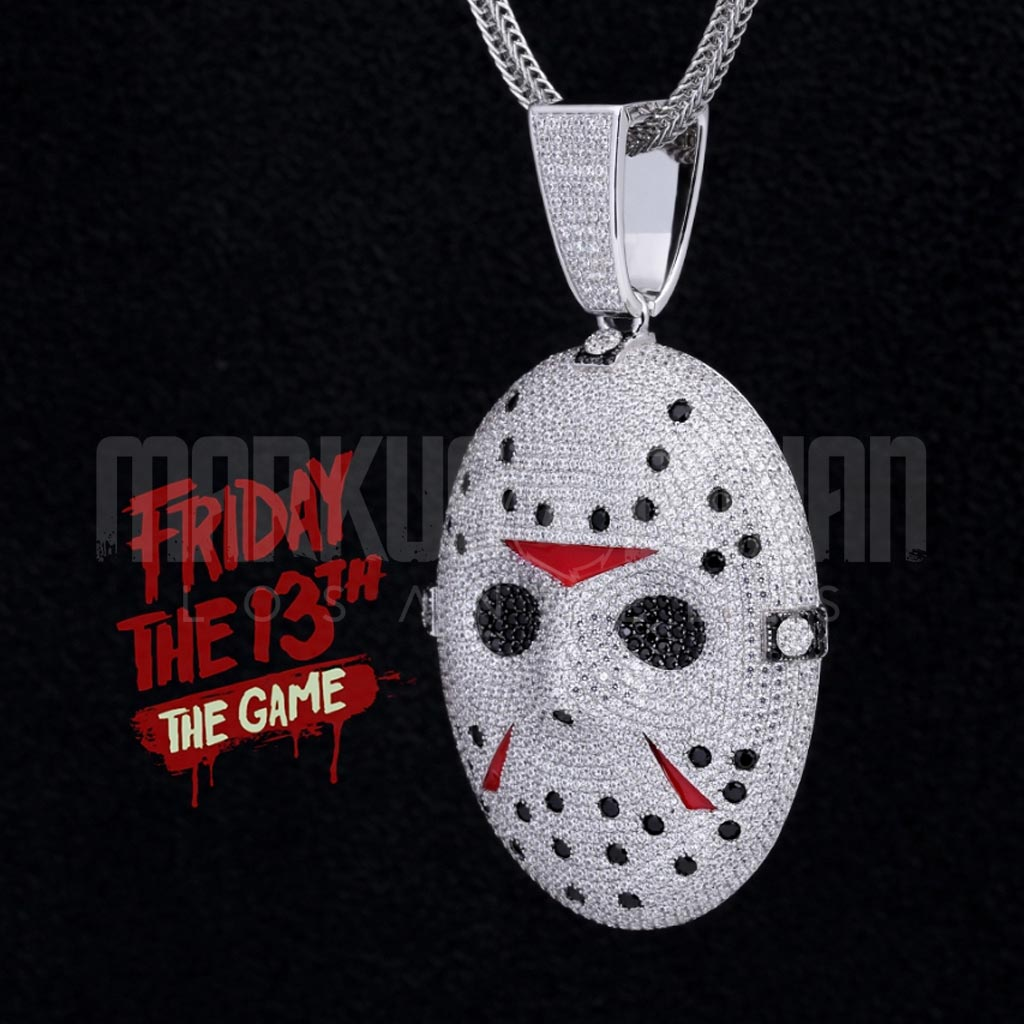 18K Gold Jason Friday the 13th Mask Iced Pendant