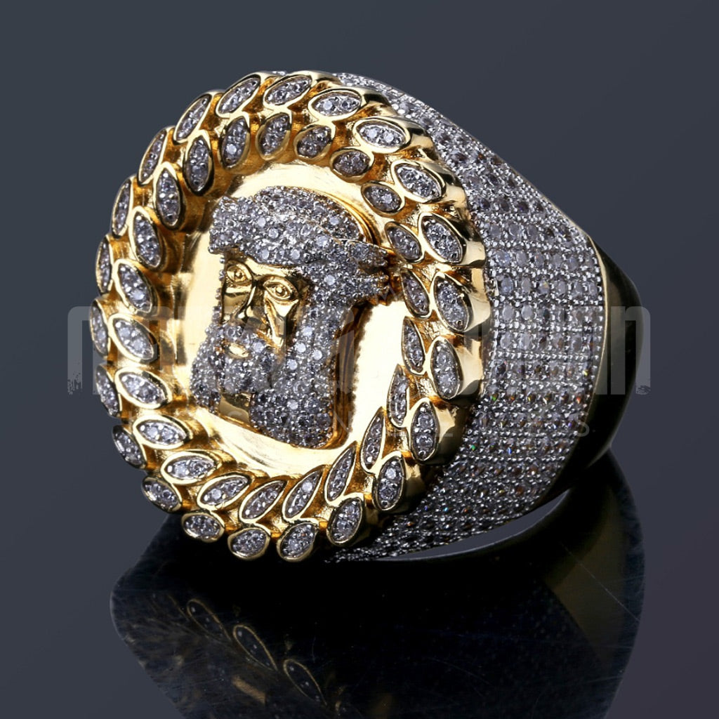 18K Gold Finish Jesus Head Iced Ring