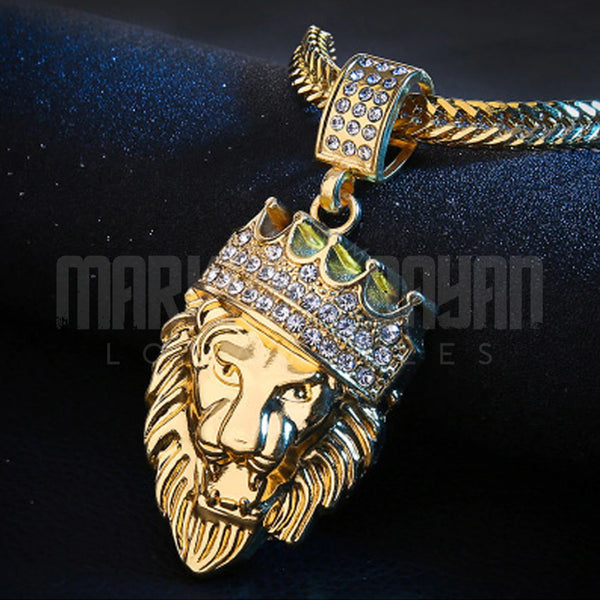Iced Crown Lion Pendant 14K Gold Plated