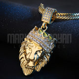 18K Gold Finish S925 Silver Crown Lion Pendant