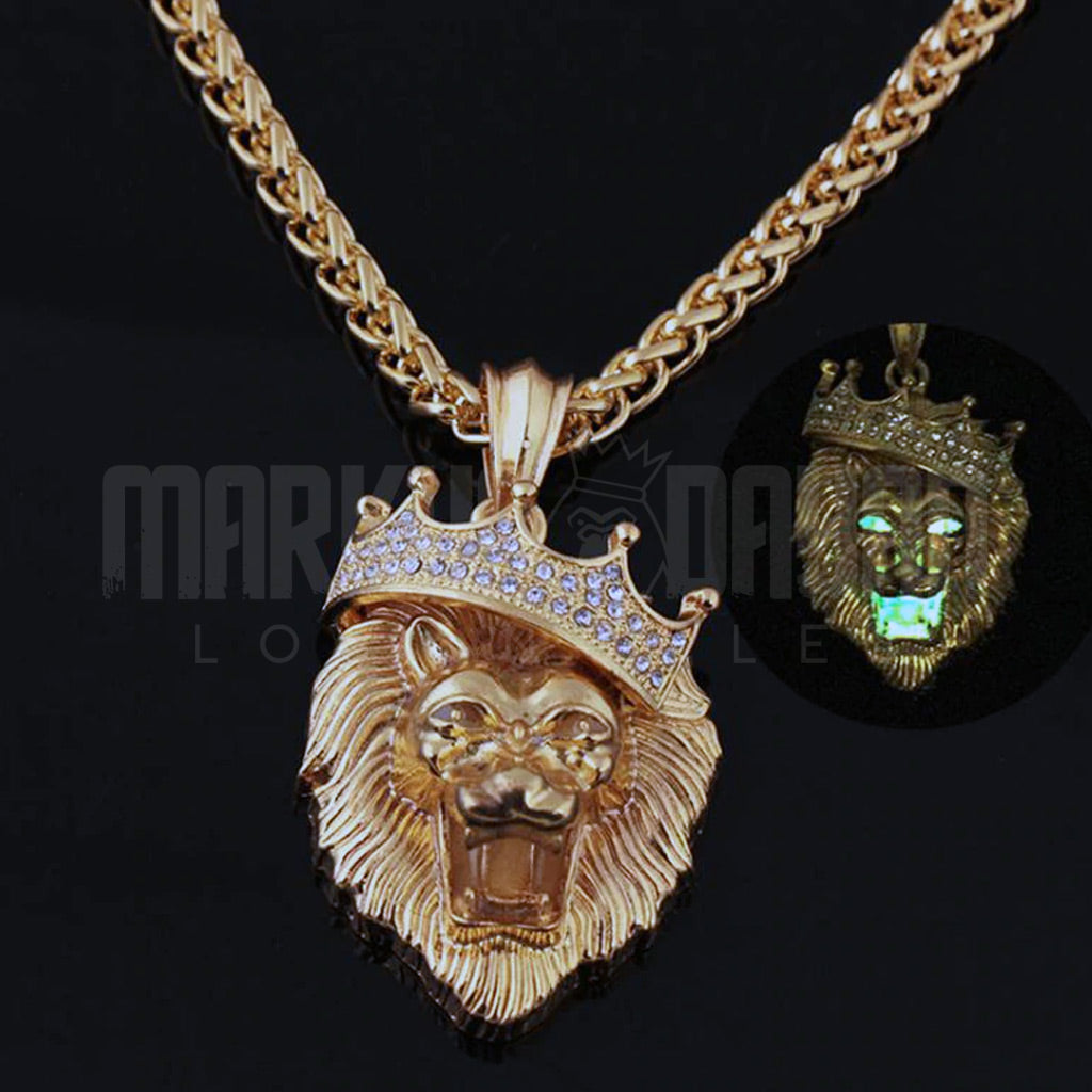 18K Gold Finish S925 Silver Fluorescent Lion Head Pendant