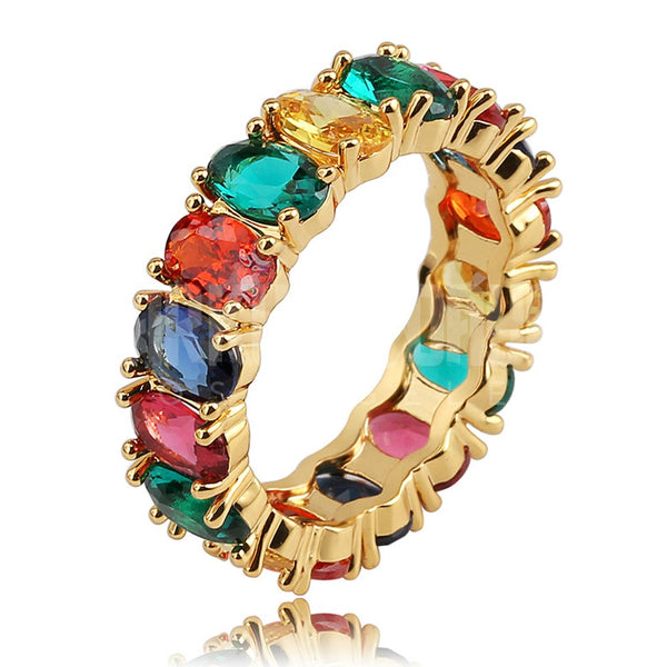Rainbow CZ Gold Diamond Ring