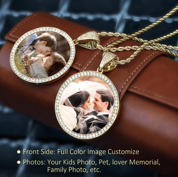 Iced Custom Photo Solid back Medallion Picture Pendant 14K - FREE ENGRAVING