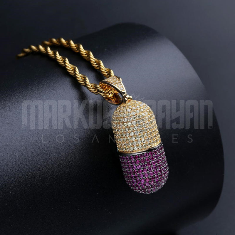 Iced  Detachable Pill Pendant 14k Gold Plated