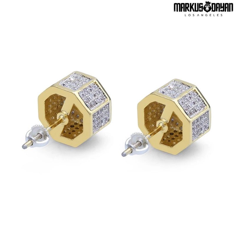 Iced Stud Earrings Cubic Polygon 18k Gold Plated