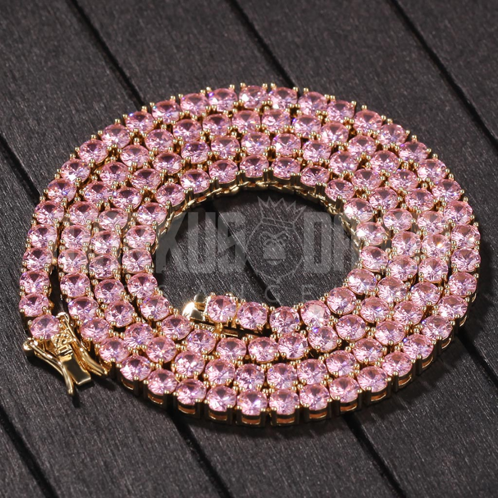 4mm Iced Out Rose Gold Tennis Chain