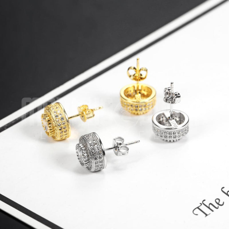 Iced Diamond Earrings Round Stud 18K Gold Plated