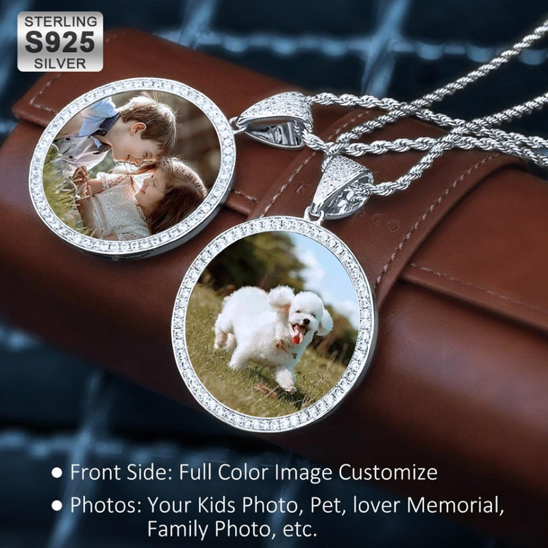 Sterling Silver S925 Iced Custom Photo Picture Pendant - Free Engraving