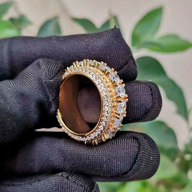 Iced Ring Spinner Diamond Round Gold