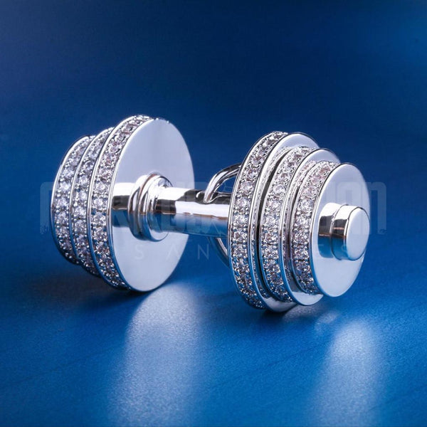 Iced Dumbbell Shiny Pendant White Gold