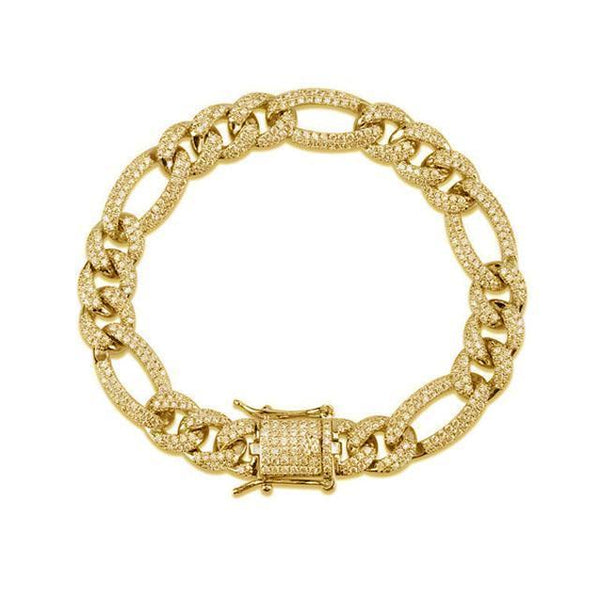10mm Iced Bracelet Lock NK 18K Gold
