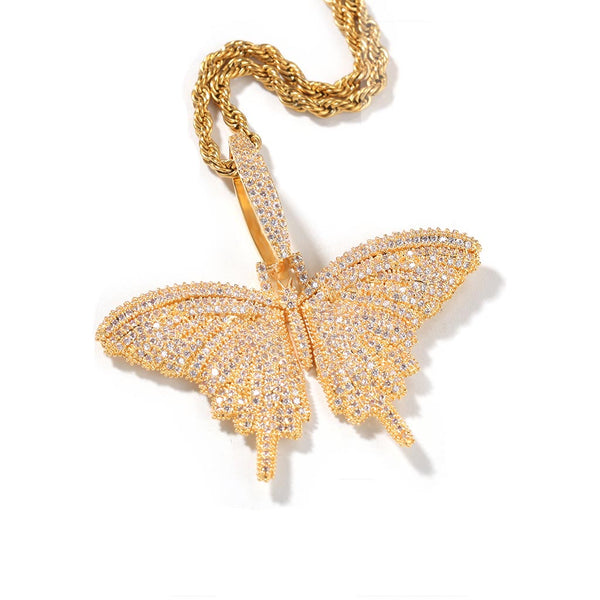 Iced Butterfly Pendant Small 14K Gold Plated