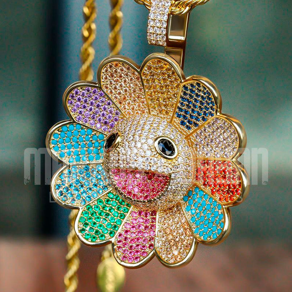 18K Gold Finish S925 Silver Flower Spinner Pendant