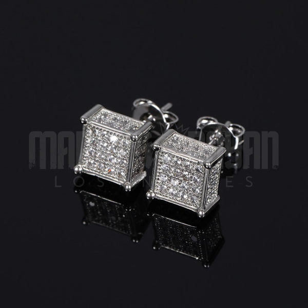 Iced Diamond Square Studs Gold Earrings