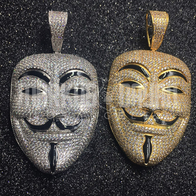 Iced Vendetta Mask Pendant 14K Gold Plated
