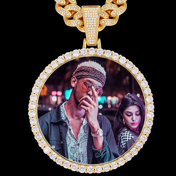 XXL Iced Custom Photo Medallion Pendant 14K Gold Plated Free Engraving