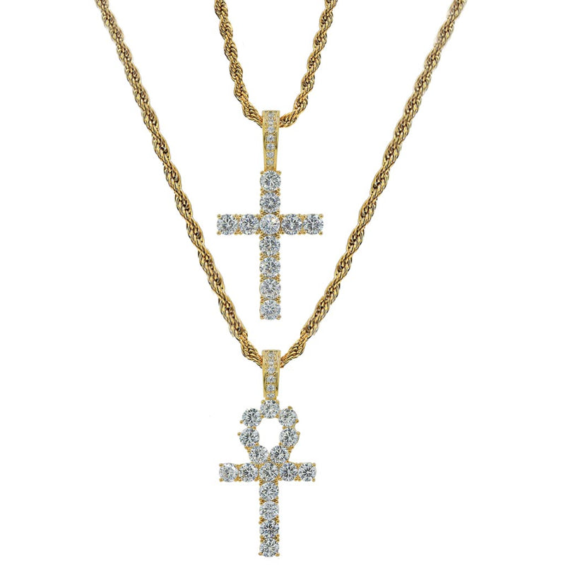 Iced Ankh&Cross Set 2 Pieces Pendant 14k Gold Plated