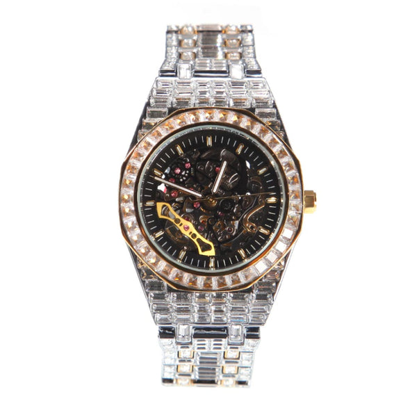 18K Gold Diamond Baguette Watch Black Dial