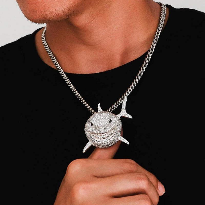 Iced Baby Shark Pendant 14K Gold