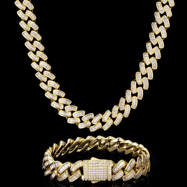 12mm Iced Baguette Diamond Cuban Bundle 14K Gold