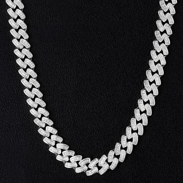 12mm Iced Baguette Diamond Cuban Chain White Gold