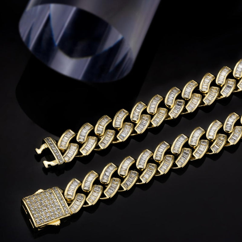 12mm Iced Baguette Diamond Cuban Chain 14K Gold