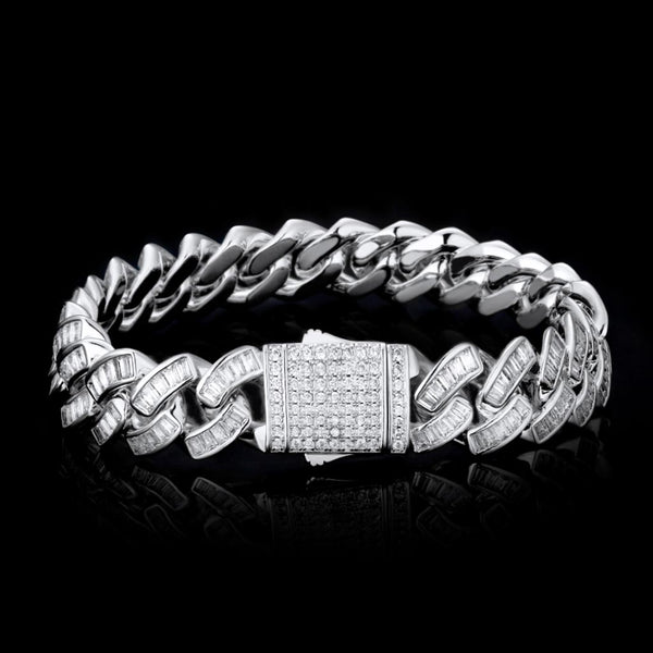 12mm Iced Baguette Diamond Cuban Bracelet White Gold