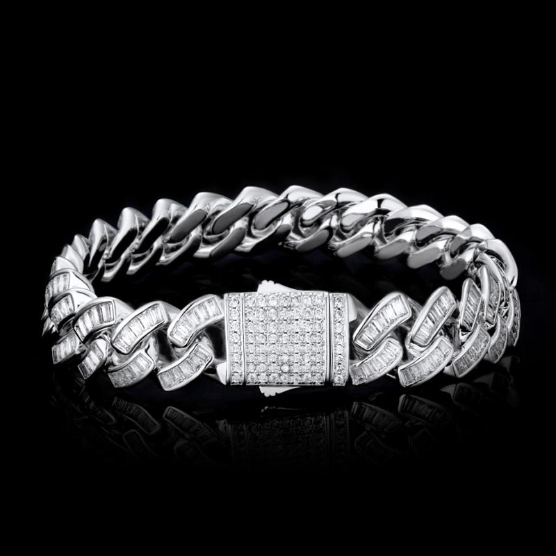 12mm Iced Baguette Diamond Cuban Bundle White Gold