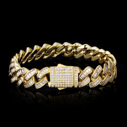12mm Iced Baguette Diamond Cuban Bracelet 14K Gold