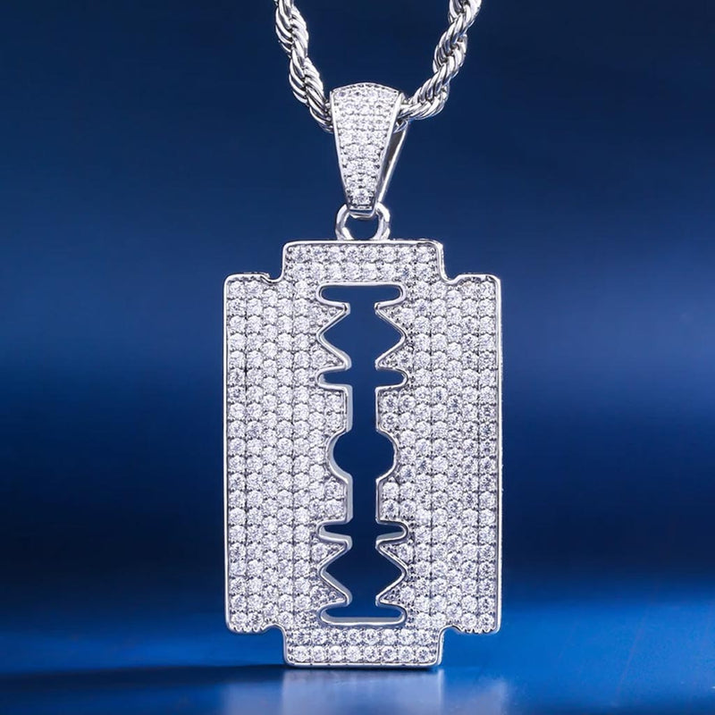 White Gold Ice Double-Edged Razor Blade Pendant