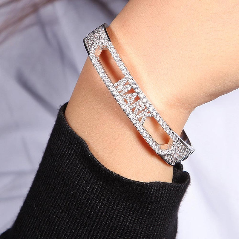 Personalized Sliding Iced Letters Bracelet