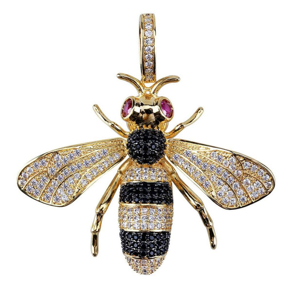 Iced Bee Necklace Pendant 18K Gold Plated