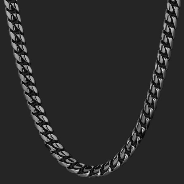 10mm Miami Cuban Link Chain Black Gold Plated