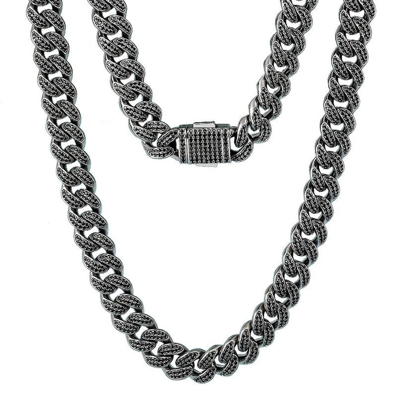 12mm Black Iced Miami Cuban Link Chain