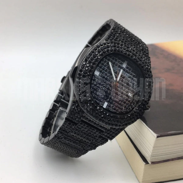18K Finish Black Iced Watch Quartz