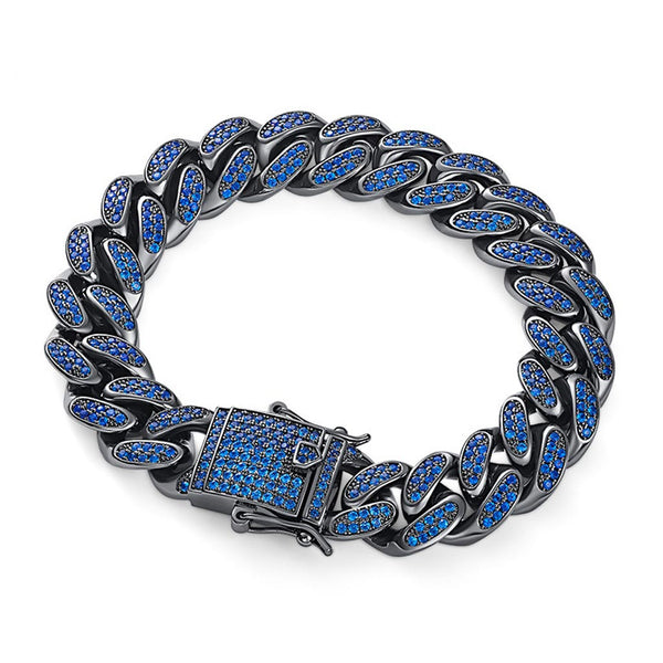 12mm Blue/Black  Premium Bling Iced Out Cuban Bracelet