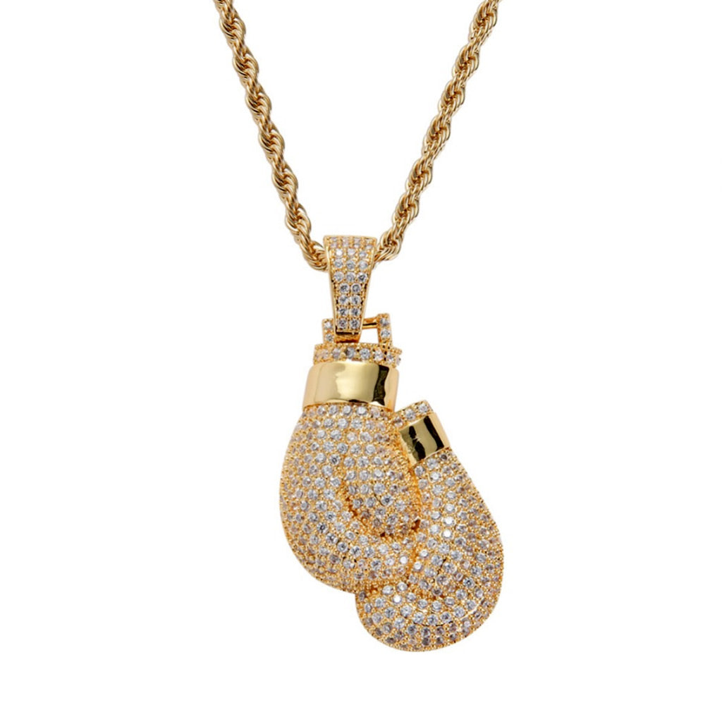 18K Gold Finish S925 Silver Boxing Gloves Pendant