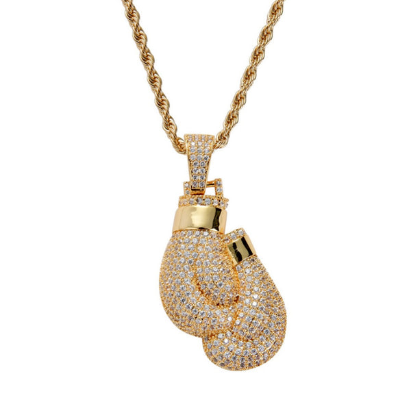 Iced Boxing Gloves Pendant 14K Gold Plated