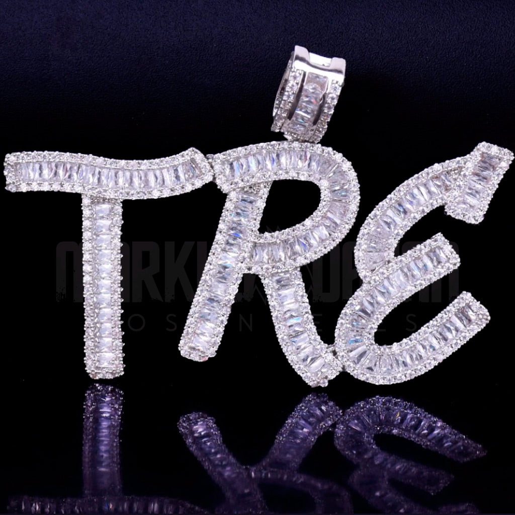 18K Gold Finish S925 Silver Custom Baguette Letters