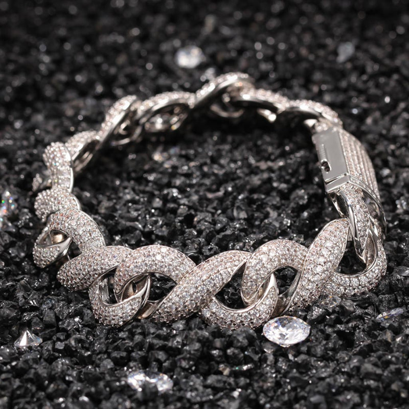 15mm Iced Infinity Bracelet with Box Clasp 18K Gold