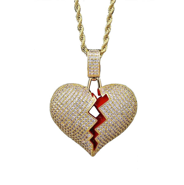 Iced Heart Broken Solid Back Pendant 14K Gold Plated