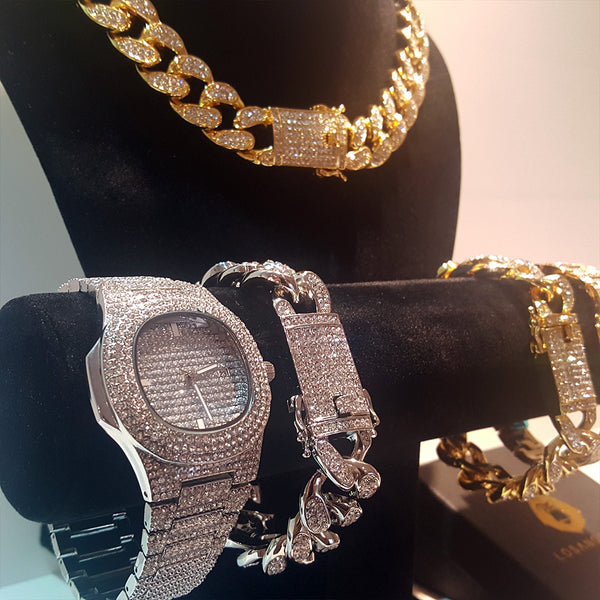 Combo Iced Cuban Bundle Chain&Bracelet&Watch