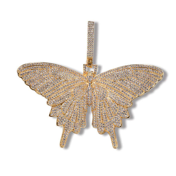 Iced Butterfly Big Pendant XL 18K Gold Plated